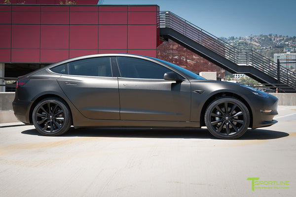 Satin Gold Dust Black Tesla Model 3 with Matte Black 19 inch Turbine Style TST Wheels by T Sportline 3