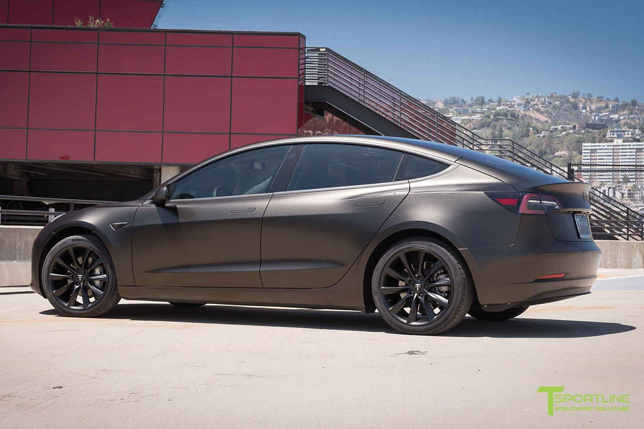 Satin Gold Dust Black Tesla Model 3 with Matte Black 19 inch Turbine Style TST Wheels by T Sportline 2