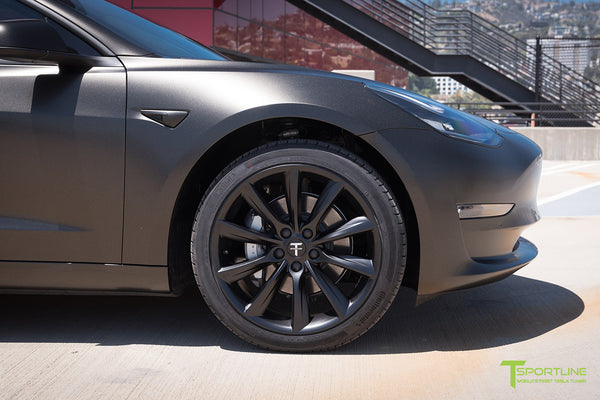 Satin Gold Dust Black Tesla Model 3 with Matte Black 19 inch Turbine Style TST Wheels by T Sportline 1