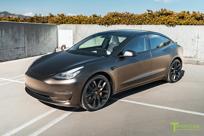"Satin Gold Dust Black Tesla Model 3 with 20"" TSS"