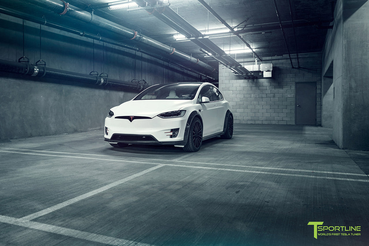 Satin Pearl White Tesla Model X P100D T Largo Wide Body Package and Matte Interior Trim by T Sportline 23