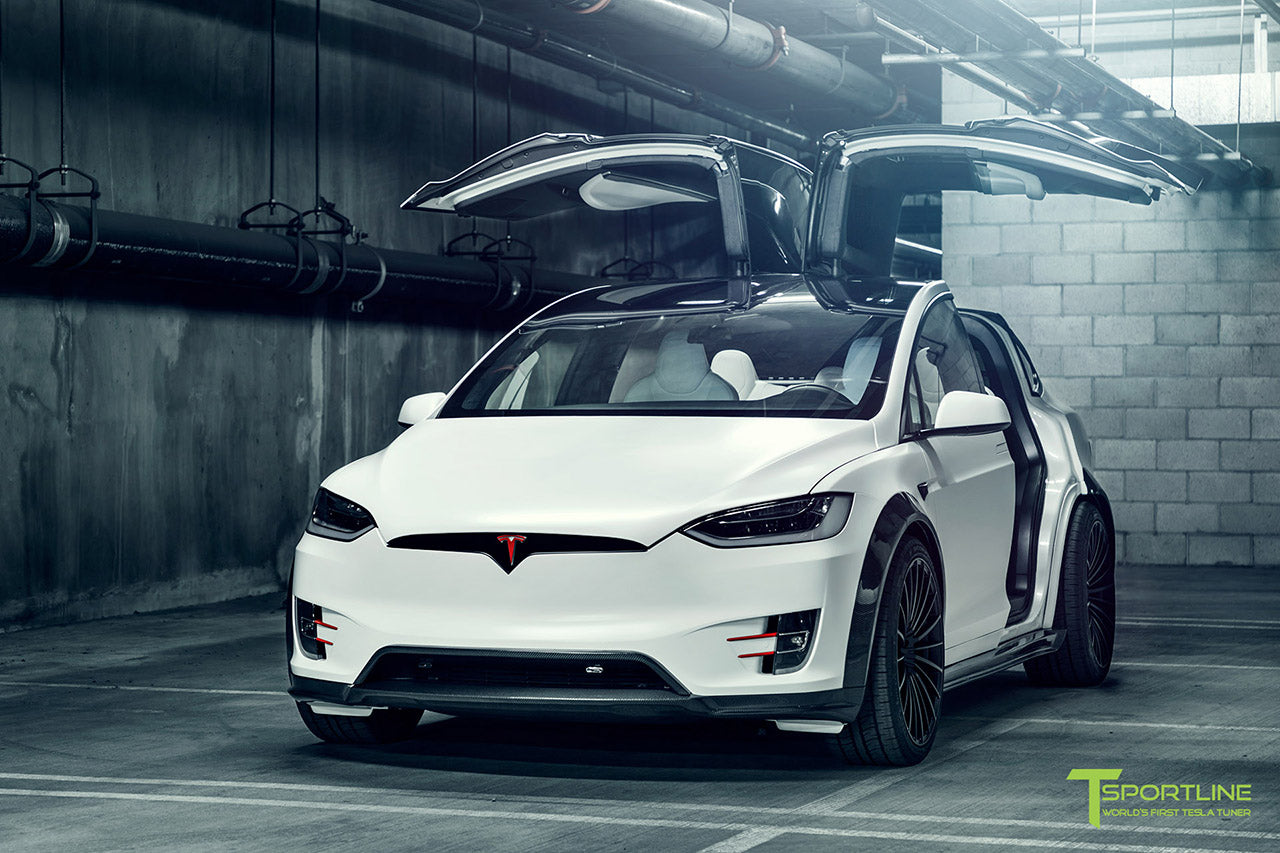 Satin Pearl White Tesla Model X P100D T Largo Wide Body Package and Matte Interior Trim by T Sportline 22