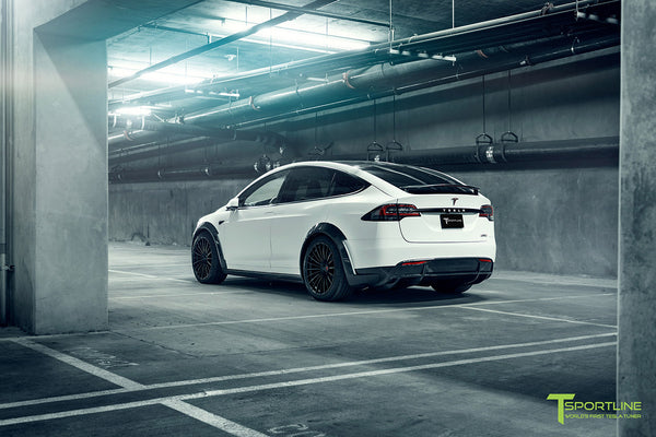 Satin Pearl White Tesla Model X P100D T Largo Wide Body Package and Matte Interior Trim by T Sportline 21
