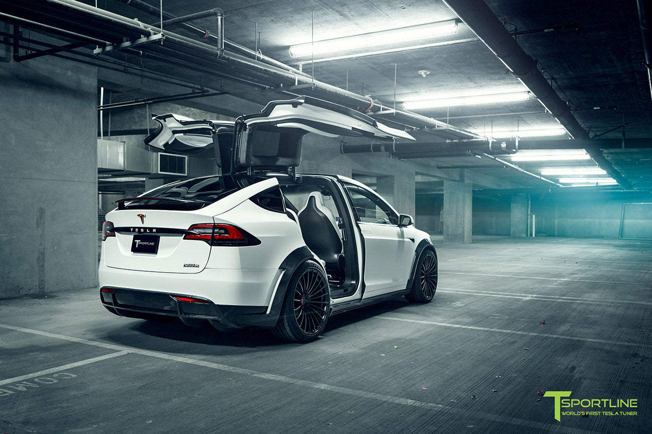 Satin Pearl White Tesla Model X P100D T Largo Wide Body Package and Matte Interior Trim by T Sportline 20