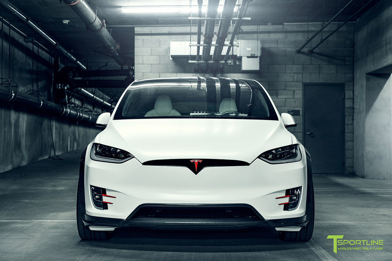 Satin Pearl White Tesla Model X P100D T Largo Wide Body Package and Matte Interior Trim by T Sportline 19