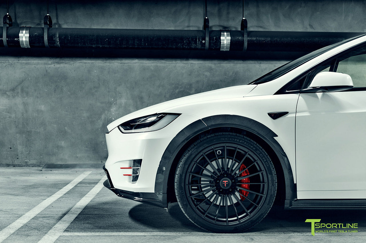 Satin Pearl White Tesla Model X P100D T Largo Wide Body Package and Matte Interior Trim by T Sportline 18