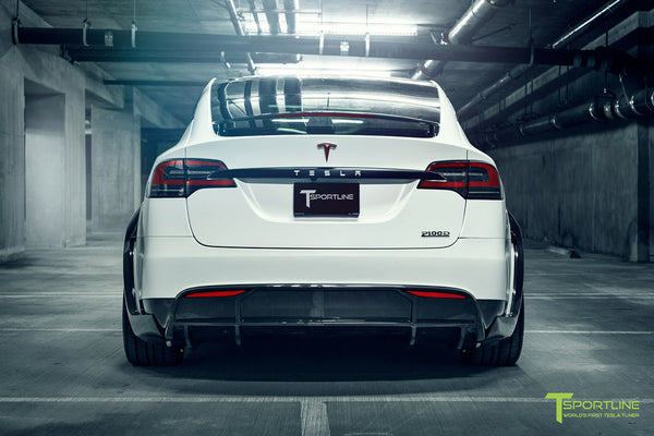 Satin Pearl White Tesla Model X P100D T Largo Wide Body Package and Matte Interior Trim by T Sportline 17