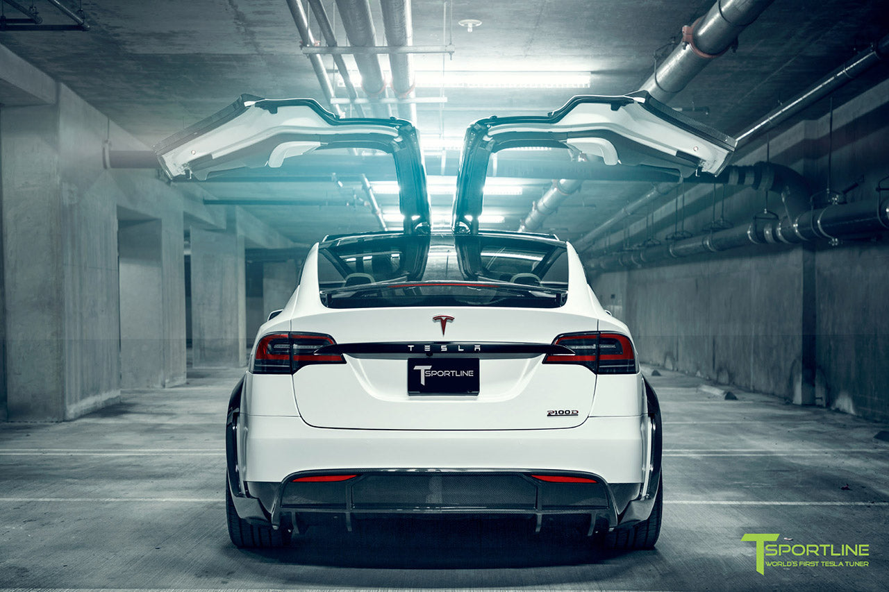 Satin Pearl White Tesla Model X P100D T Largo Wide Body Package and Matte Interior Trim by T Sportline 16