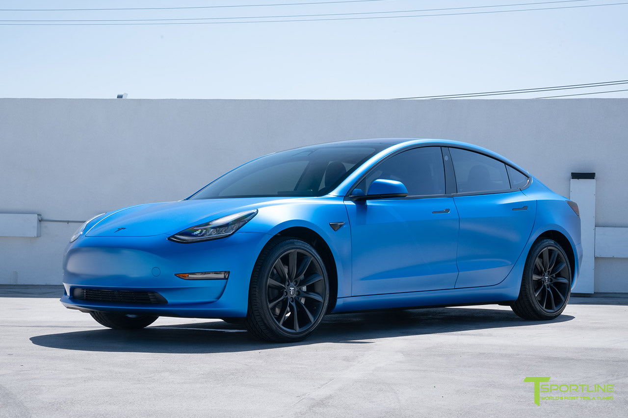 Satin Perfect Blue Tesla Model 3 with Satin Black Chrome Delete, Window Tint, Matte Black 19 inch TST Wheels, and Lug Nut Cover by T Sportline 5