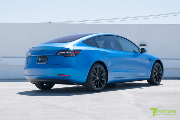Satin Perfect Blue Tesla Model 3 with Matte Black 19 inch TST Turbine Style Wheels by T Sportline 2
