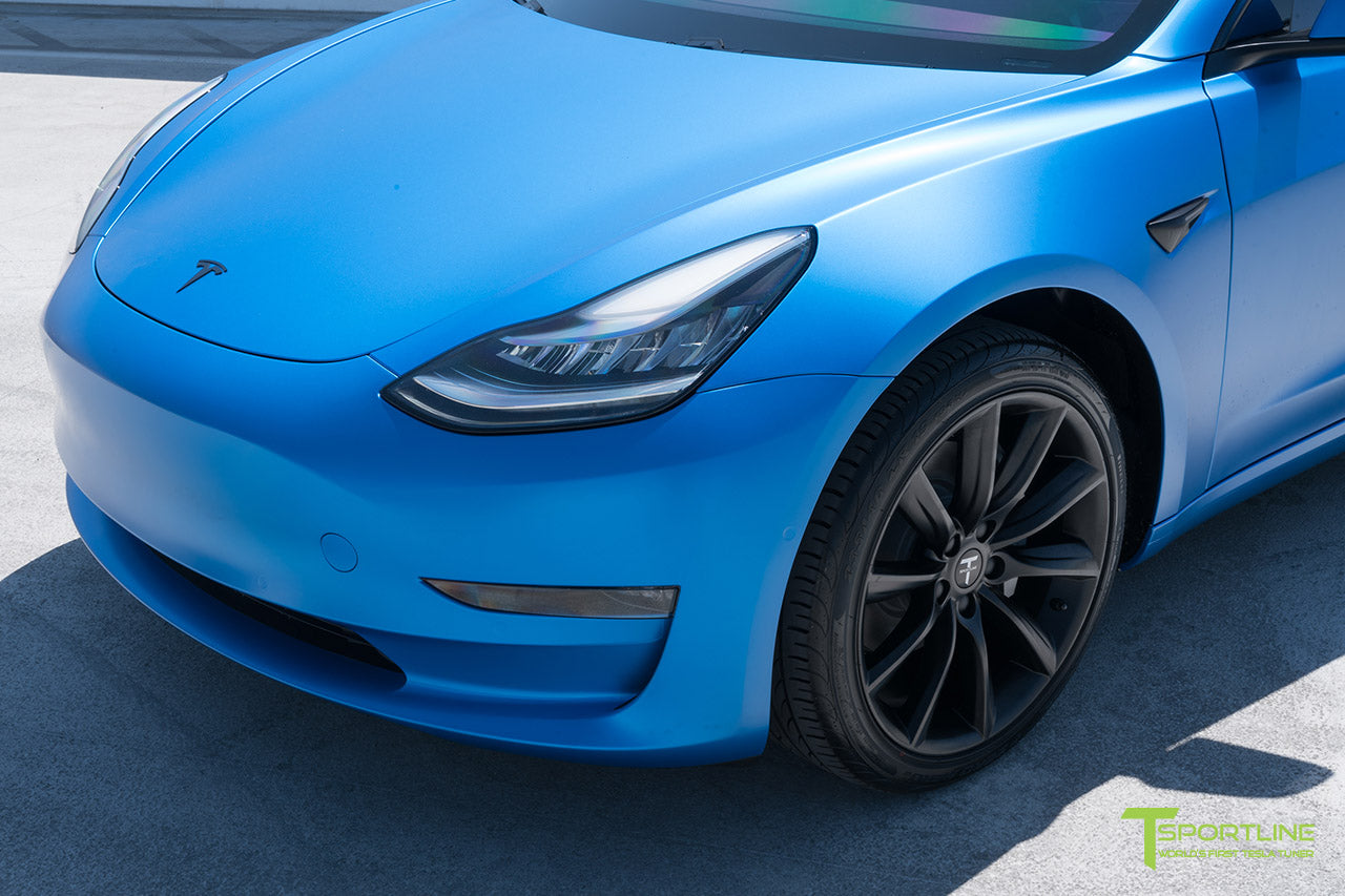 Satin Perfect Blue Tesla Model 3 with Satin Black Chrome Delete, Window Tint, Matte Black 19 inch TST Wheels, and Lug Nut Cover by T Sportline 4