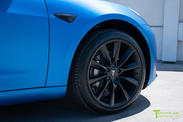 Satin Perfect Blue Tesla Model 3 with Matte Black 19 inch TST Turbine Style Wheels by T Sportline 1