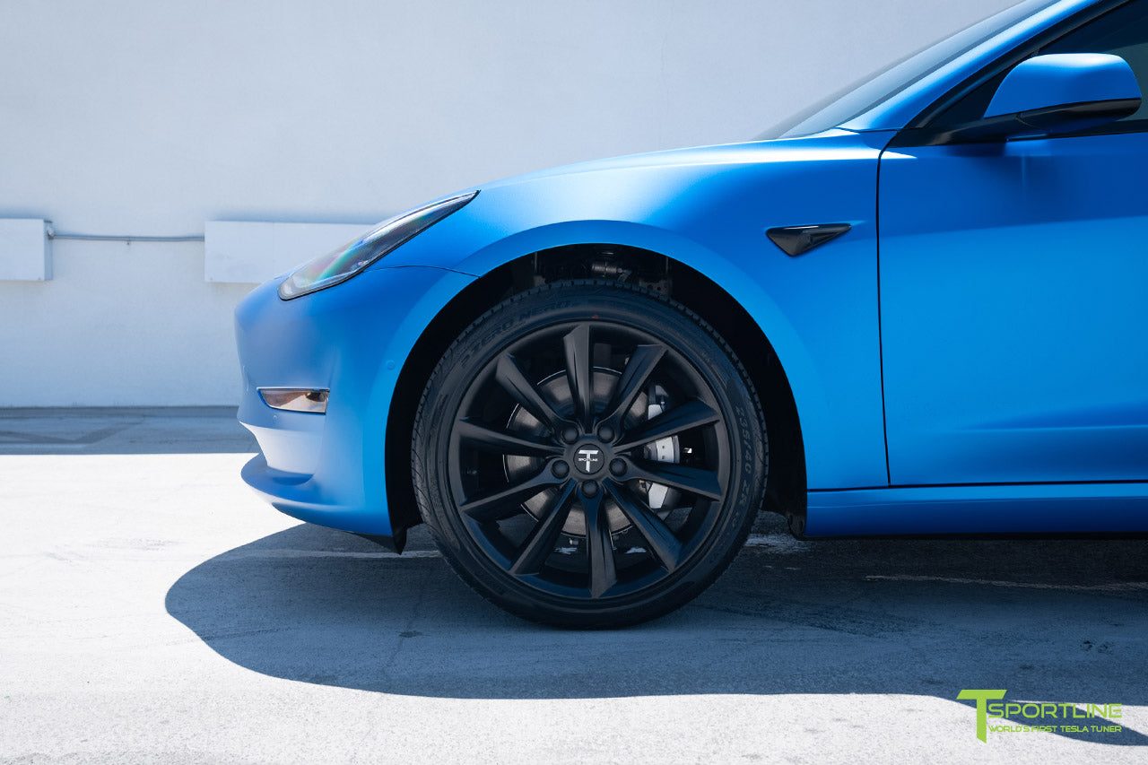 Satin Perfect Blue Tesla Model 3 with Satin Black Chrome Delete, Window Tint, Matte Black 19 inch TST Wheels, and Lug Nut Cover by T Sportline 2