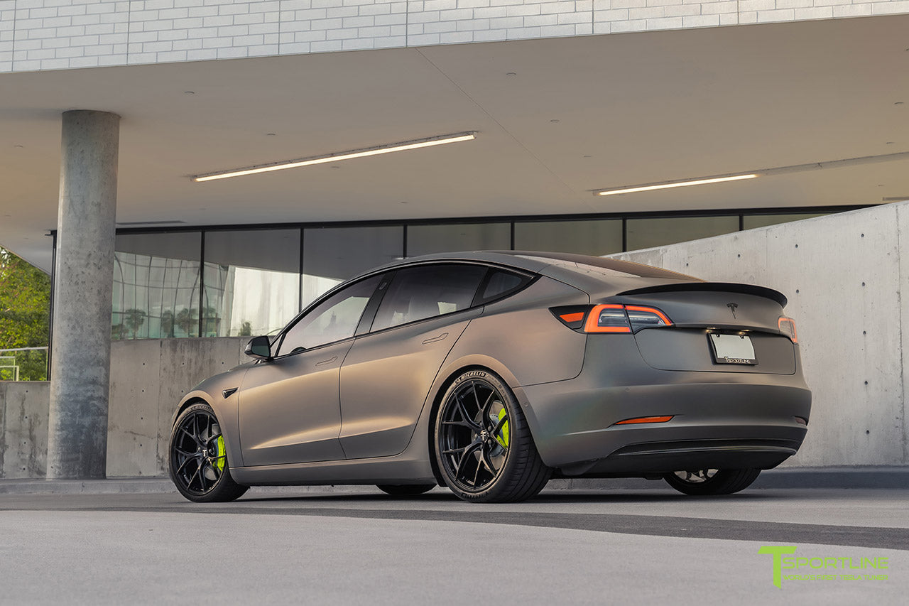 "Satin Psychedelic Flip Tesla Model 3 with Gloss Black 20"" M3115 Forged Wheels, Carbon Fiber Executive Trunk Wing and Diffuser by T Sportline"