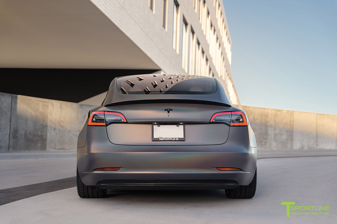 Satin Psychedelic Flip Tesla Model 3 with Carbon Fiber Executive Trunk Wing and Diffuser by T Sportline