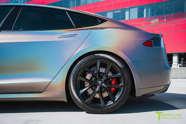 Satin Psychedelic Flip Tesla Model S 1.0 with Front Bumper Facelift Refresh, 20 inch TSS Flow Forged Aftermarket Tesla Wheels, and Tesla Model S Carbon Fiber Trunk Wing by T Sportline 7