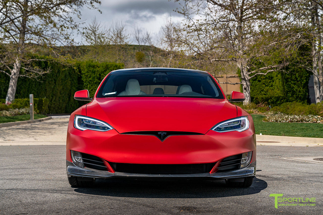 "Satin Vampire Red Tesla Model S Ludicrous Performance P100DL with 20"" TSS Flow Forged Wheels in Matte Black and Carbon Fiber Sport Package Kit (Front Apron Lip, Rear Diffuser, Rear Trunk Wing Spoiler) by T Sportline"