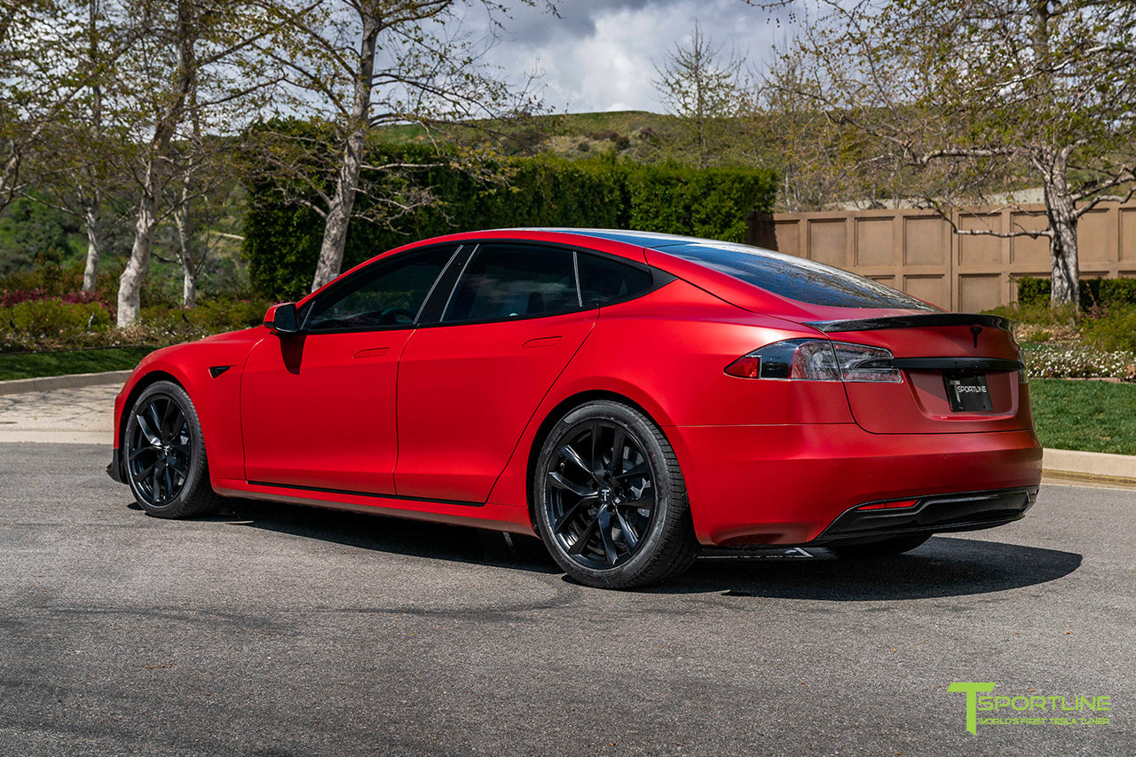 Satin Vampire Red Tesla Model S Ludicrous Performance P100DL with 20