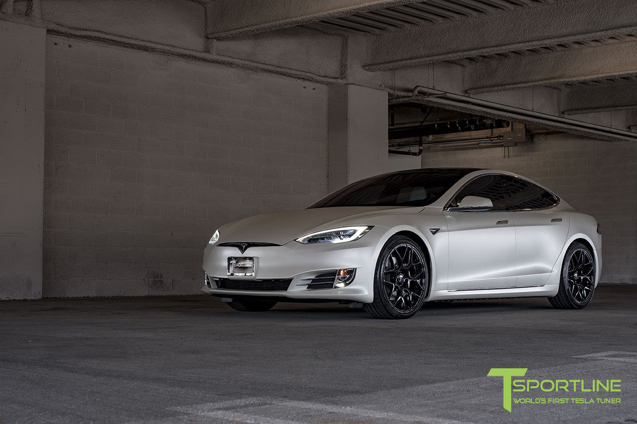 Satin White Tesla Model S 2.0 with Gloss Black 21 inch TS117 Forged Wheels