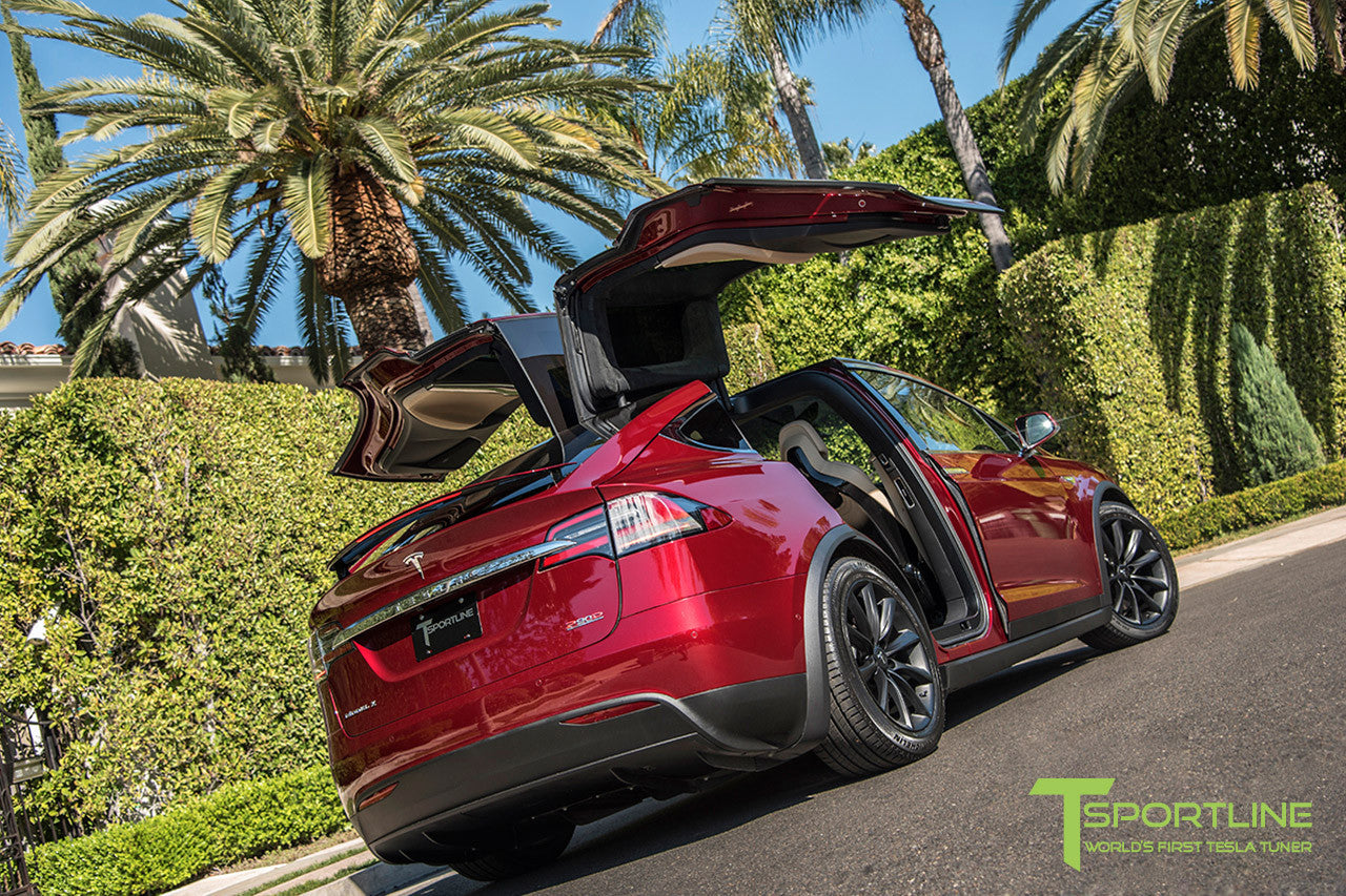 "Signature Red Model X with 20"" TST Tesla Wheel in Matte Black"
