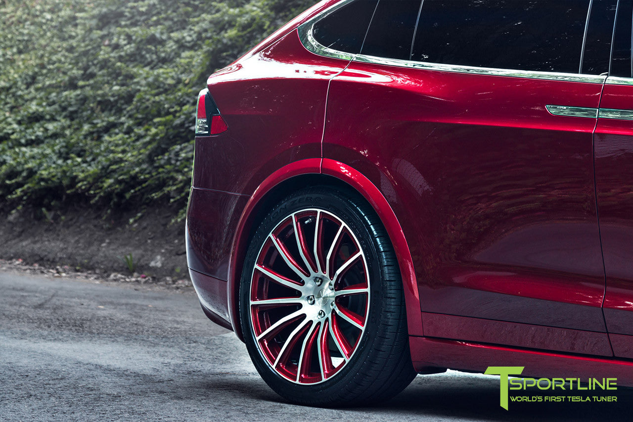Project Sig Red - 2016 Tesla Model X P90D Ludicrous - Black Interior - Custom 22 Inch MX114 Forged Wheels