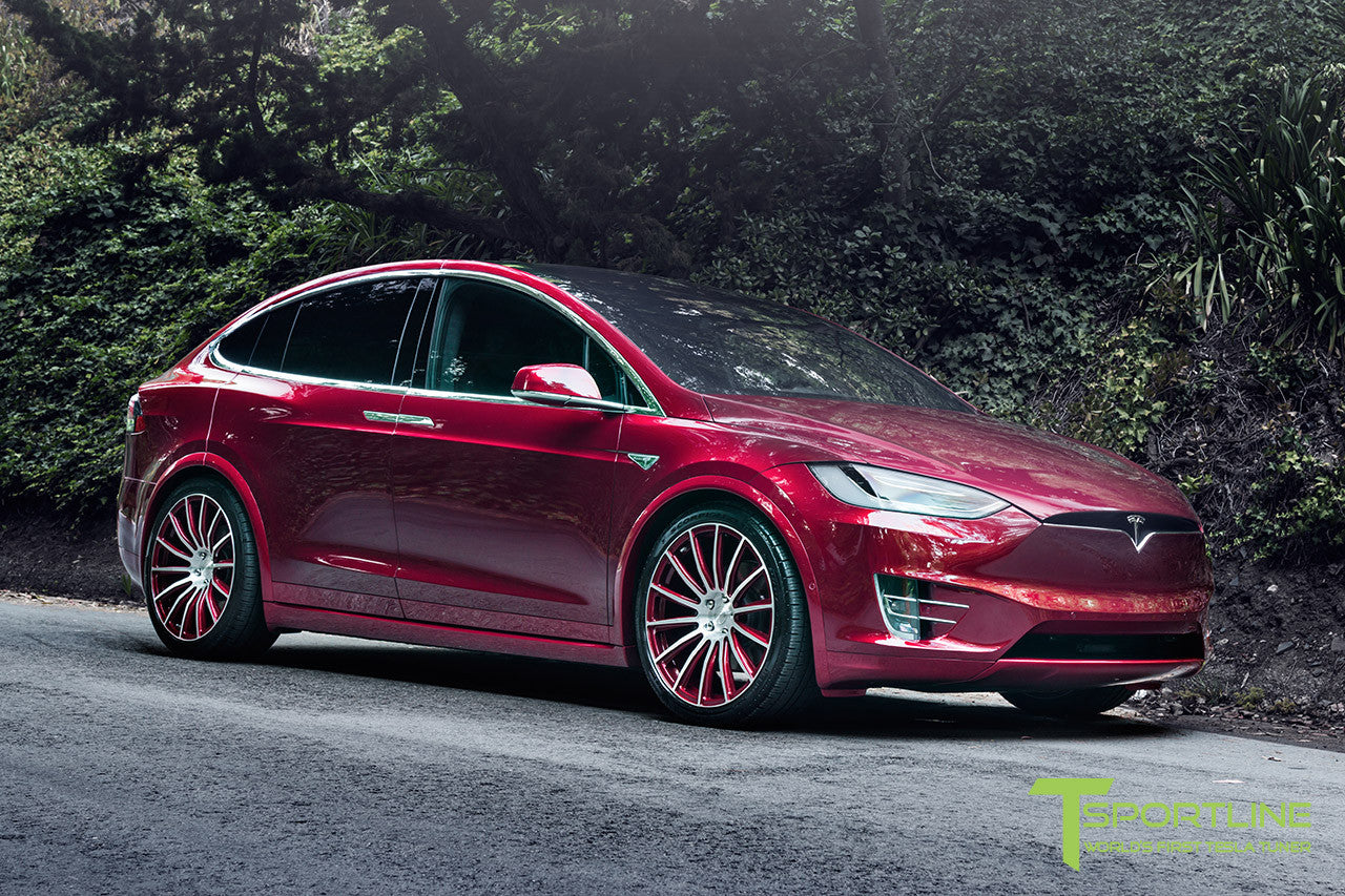 Signature Red Tesla Model X with Custom Signature Red 22 inch MX114 Forged Wheels