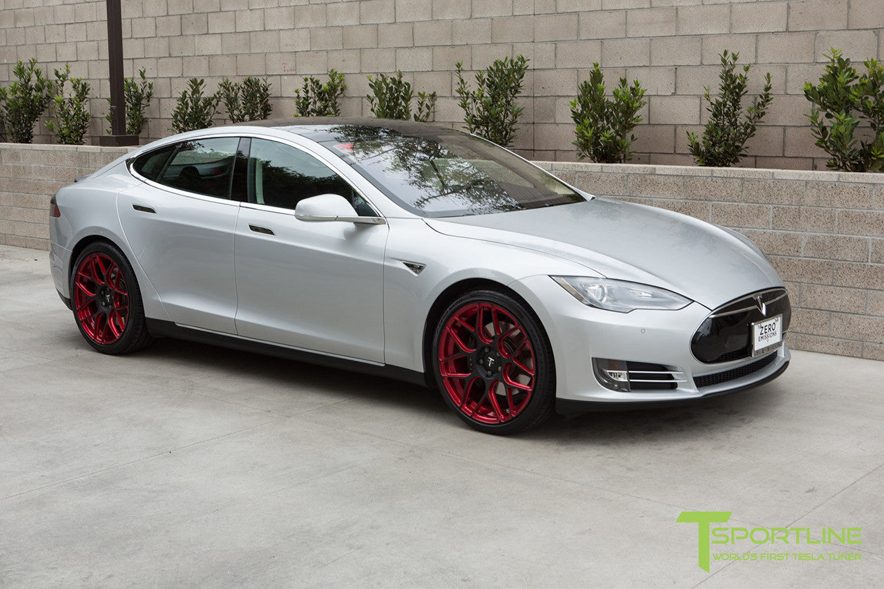 Silver Tesla Model S 1.0 with Imperial Red 21 inch TS117 Forged Wheels 1