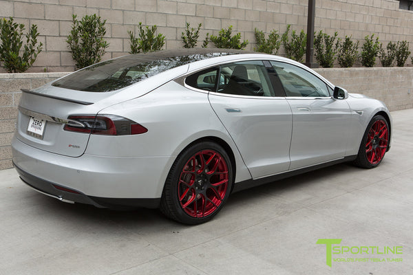 Silver Tesla Model S 1.0 with Imperial Red 21 inch TS117 Forged Wheels 2