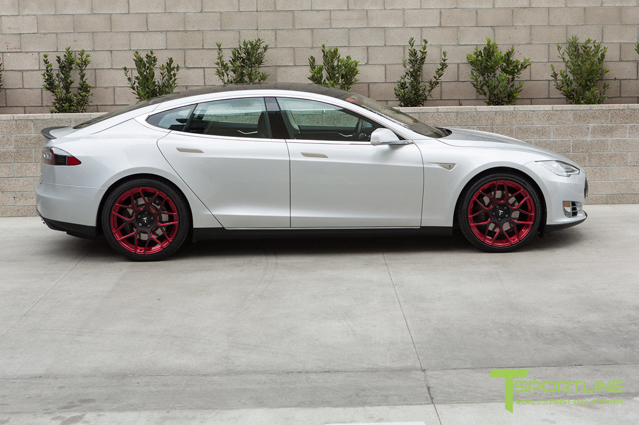 Silver Tesla Model S 1.0 with Imperial Red 21 inch TS117 Forged Wheels 3