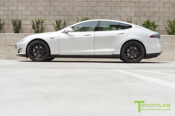 Silver Tesla Model S 1.0 with Matte Black 21 inch TS117 Forged Wheels 1