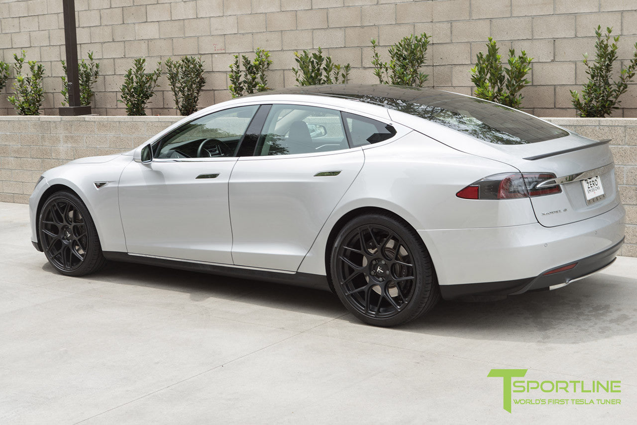 Silver Tesla Model S 1.0 with Matte Black 21 inch TS117 Forged Wheels 2