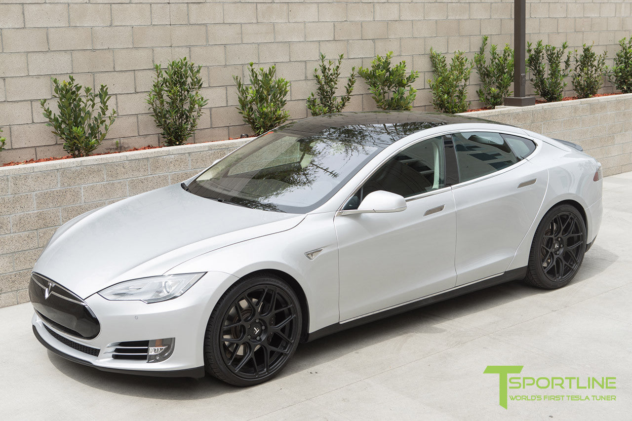 Silver Tesla Model S 1.0 with Matte Black 21 inch TS117 Forged Wheels