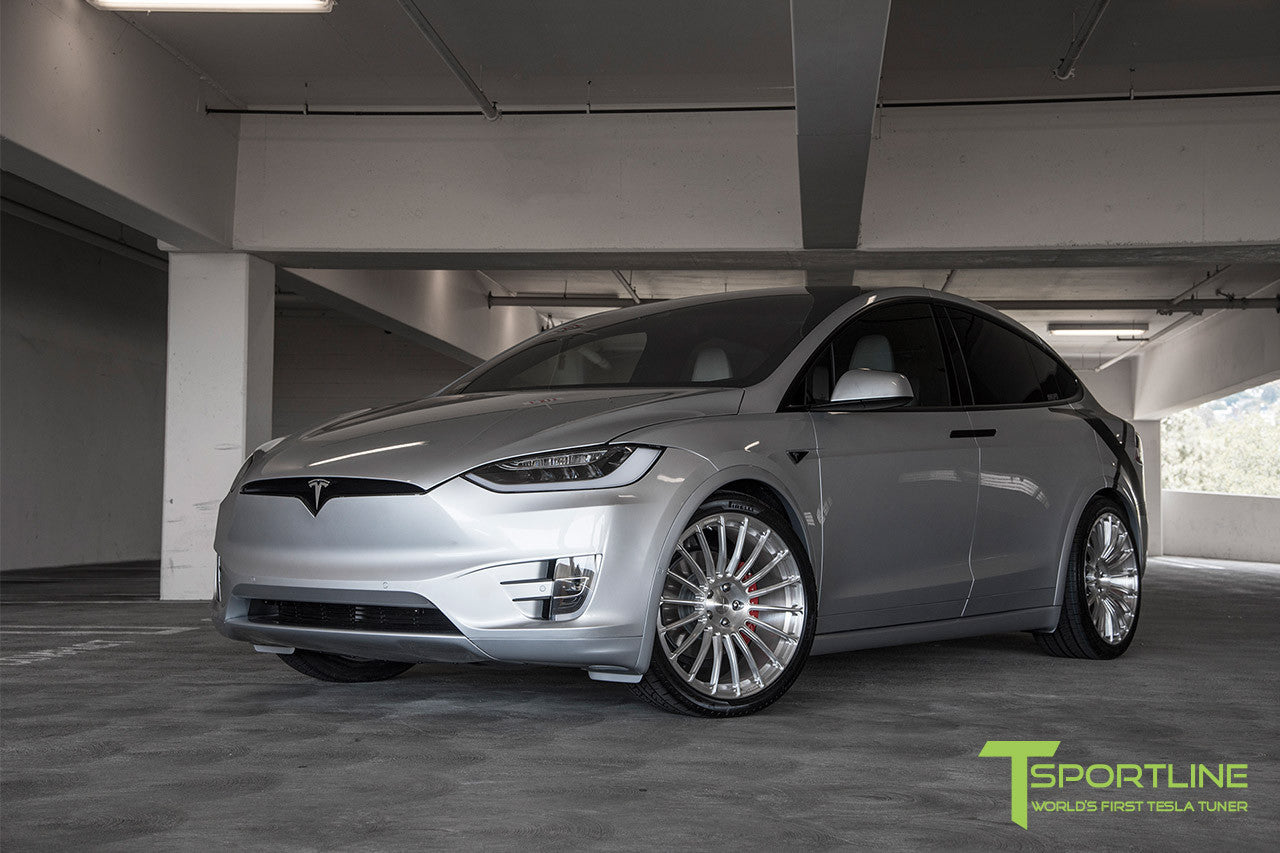 Silver Tesla Model X with Brush Satin 22 inch MX118 Forged Wheels
