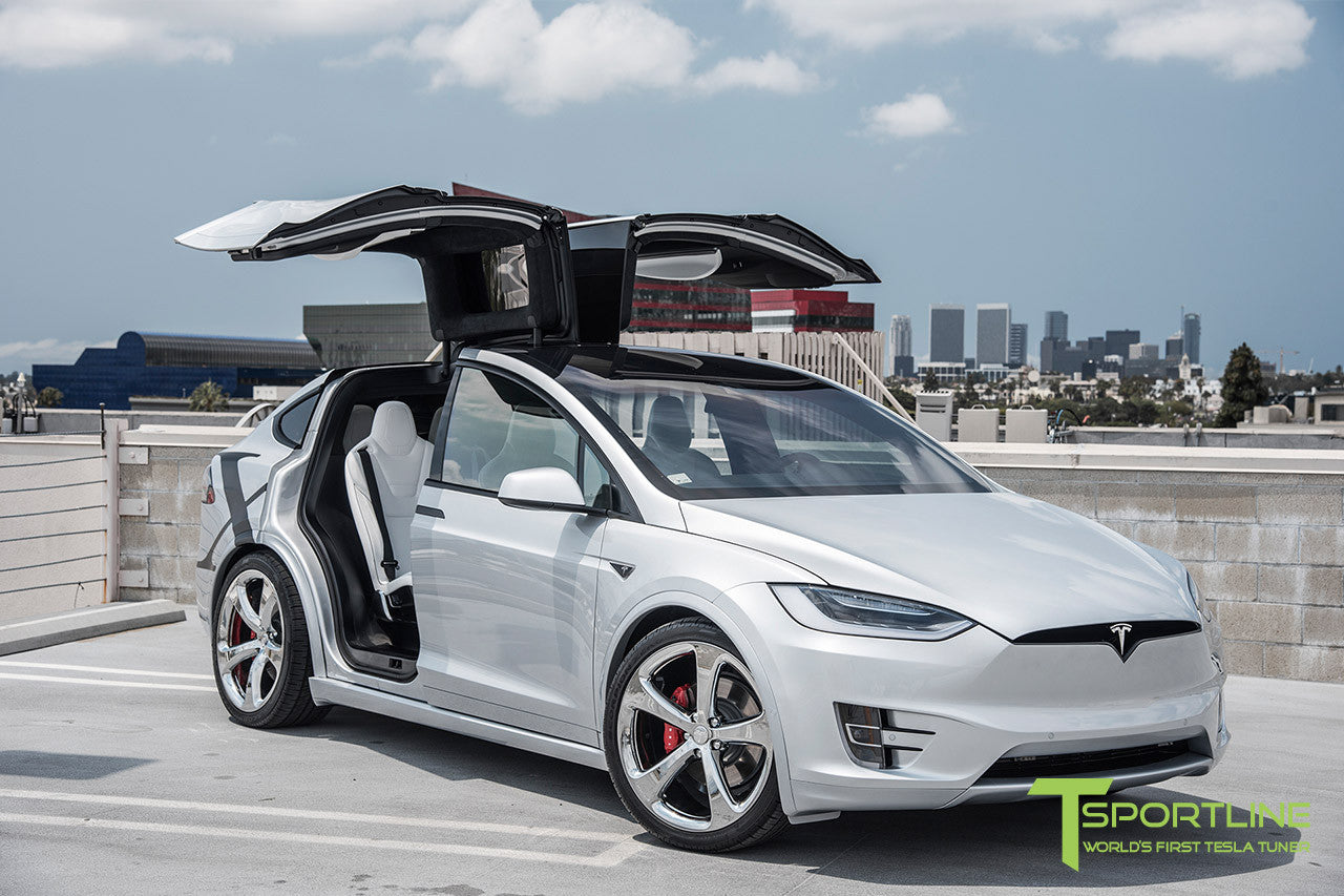 Silver Tesla Model X with Chrome 22 inch MX5 Forged Wheels