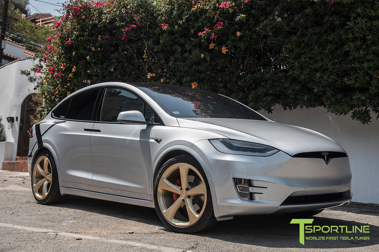Silver Tesla Model X with Ghost Gold 22 inch MX5 Forged Wheels