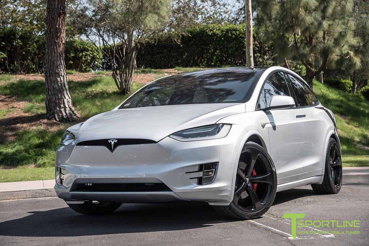 Silver Tesla Model X with Gloss Black 22 inch MX5 Forged Wheels