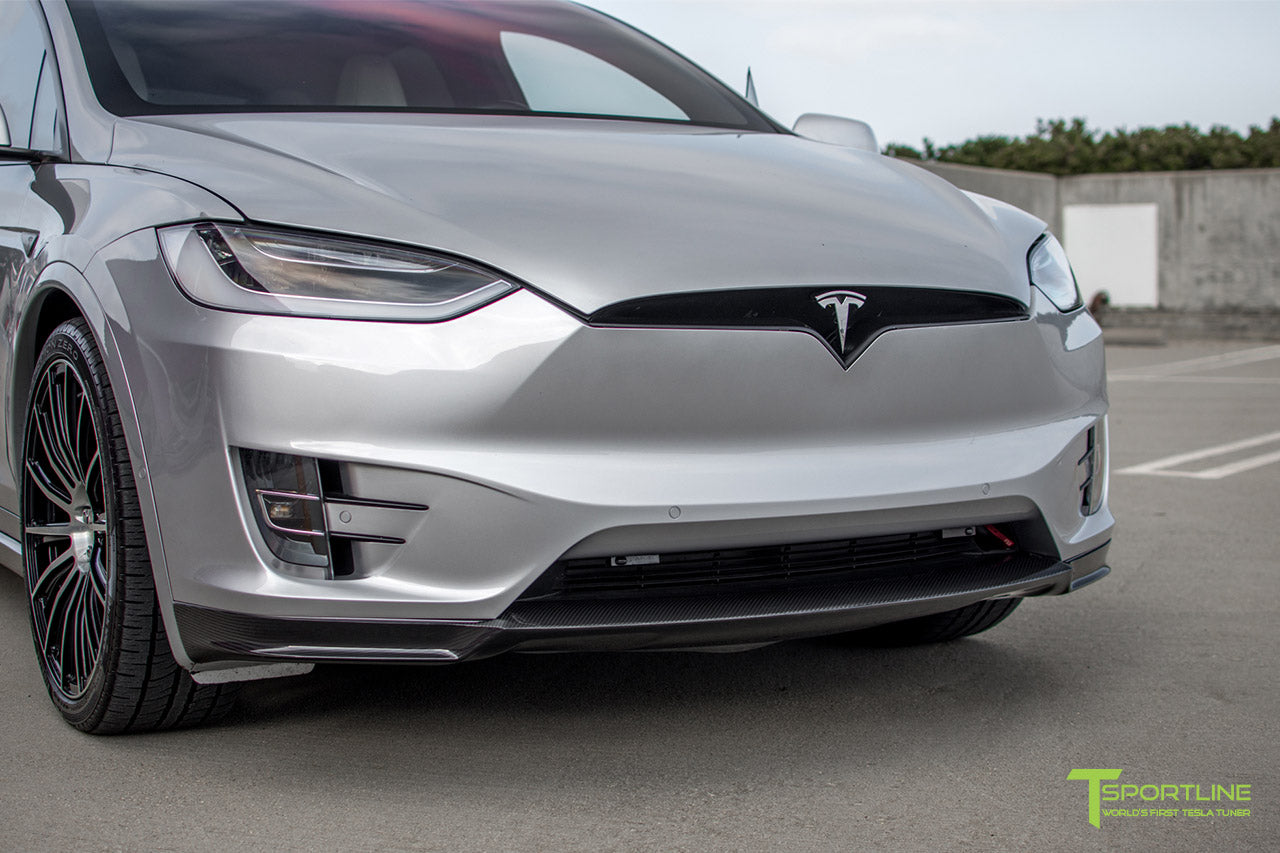 Silver Tesla Model X with Carbon Fiber Sport Package - Front Apron - Rear Diffuser - Side Skirt - Rear Wing by T Sportline