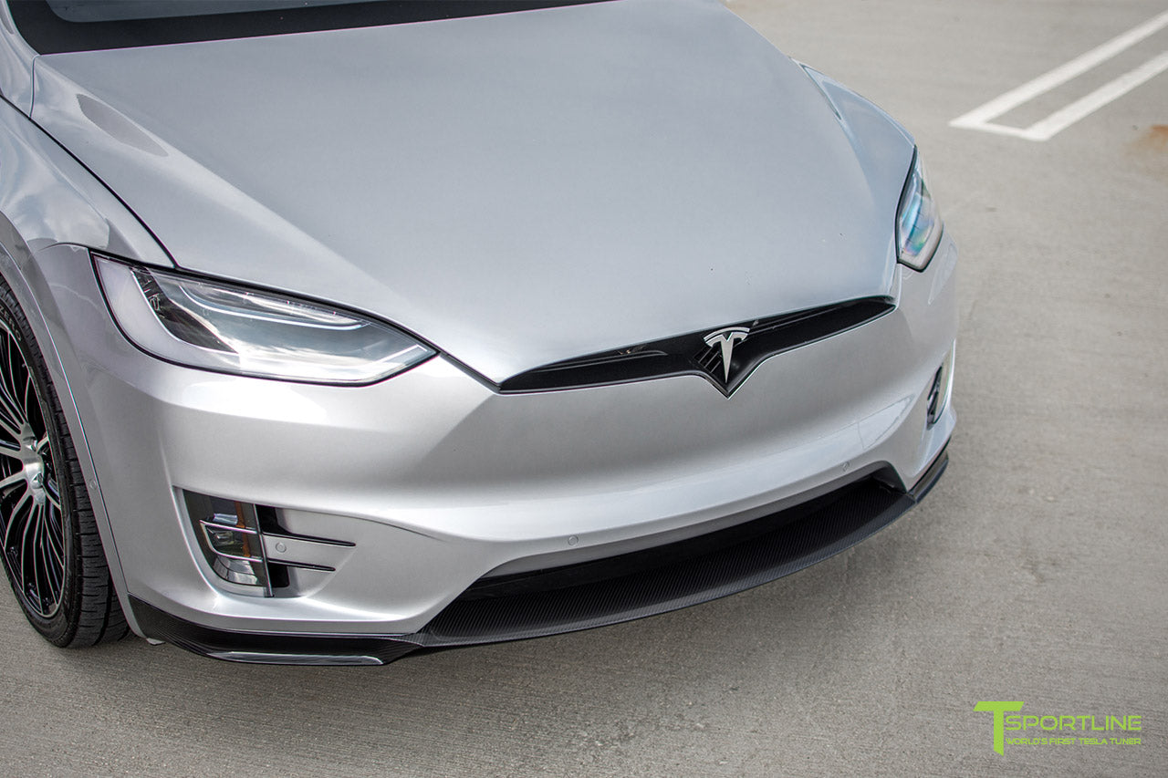 Silver Tesla Model X with Carbon Fiber Front Apron by T Sportline