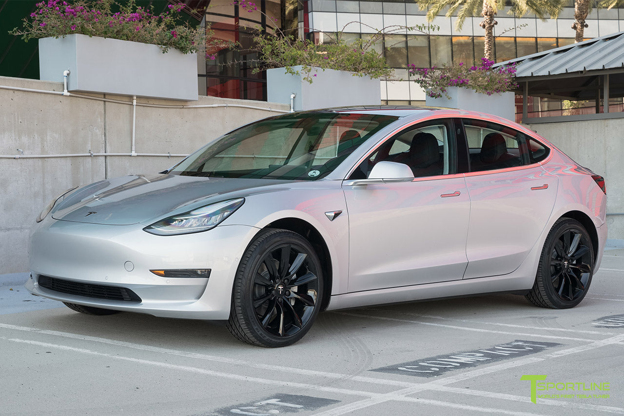 Silver Tesla Model 3 with Gloss Black 19 inch TST Turbine Style Wheels by T Sportline 4