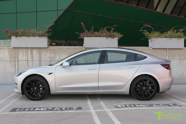 Silver Tesla Model 3 with Gloss Black 19 inch TST Turbine Style Wheels by T Sportline 3