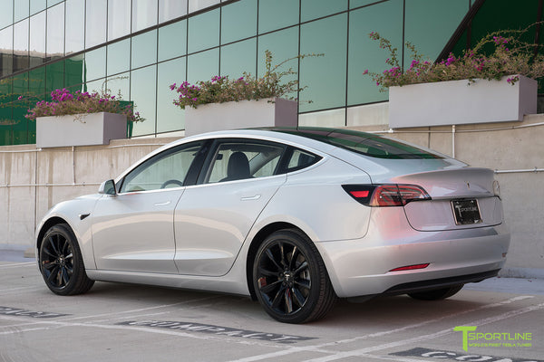 Silver Tesla Model 3 with Gloss Black 19 inch TST Turbine Style Wheels by T Sportline 2