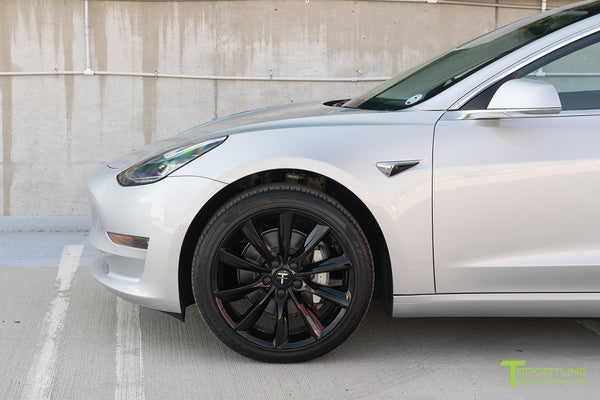 Silver Tesla Model 3 with Gloss Black 19 inch TST Turbine Style Wheels by T Sportline 1