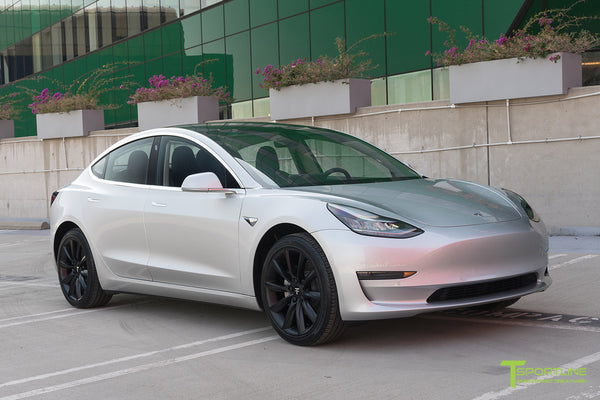 Silver Tesla Model 3 with Matte Black 19 inch TST Turbine Style Wheels by T Sportline 4