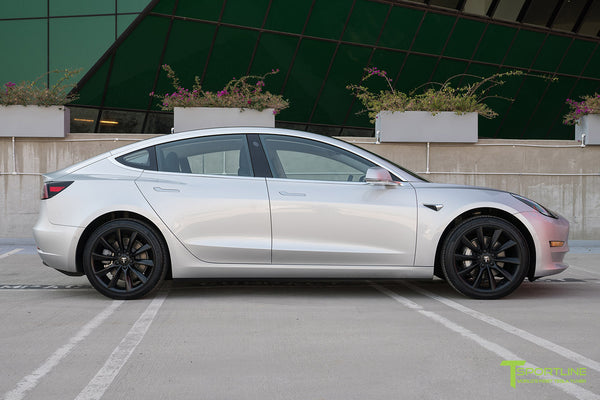 Silver Tesla Model 3 with Matte Black 19 inch TST Turbine Style Wheels by T Sportline 3