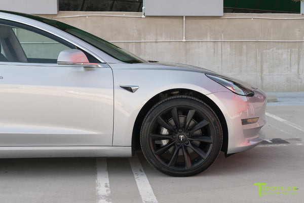 Silver Tesla Model 3 with Matte Black 19 inch TST Turbine Style Wheels by T Sportline 1