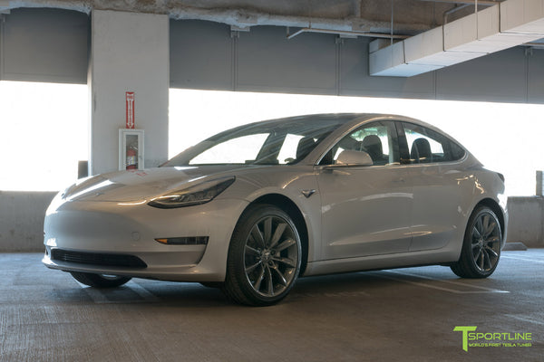 Silver Tesla Model 3 with Metallic Gray 19 inch TST Turbine Style Wheels by T Sportline 4