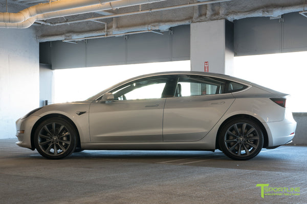 Silver Tesla Model 3 with Metallic Gray 19 inch TST Turbine Style Wheels by T Sportline 3