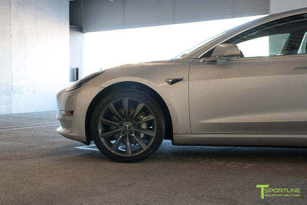 Silver Tesla Model 3 with Metallic Gray 19 inch TST Turbine Style Wheels by T Sportline 1