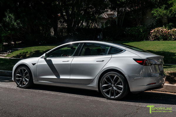 Silver Metallic Tesla Model 3 with Space Gray 20