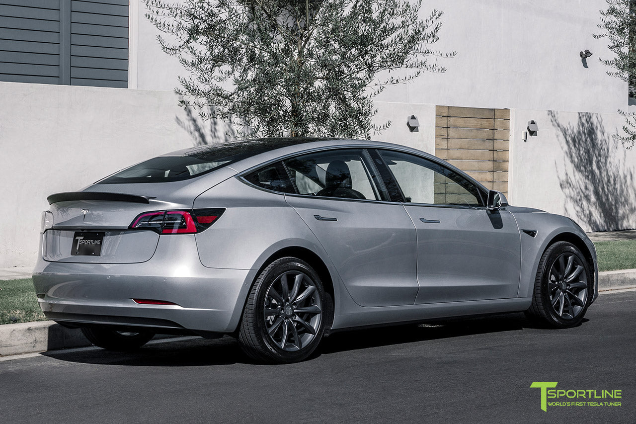 Silver Tesla Model 3 with Matte Carbon Fiber Trunk Wing Spoiler by T Sportline 6